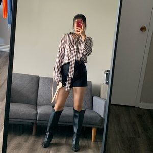 NWT Nasty Gal Houndstooth Relaxed Blouse US4